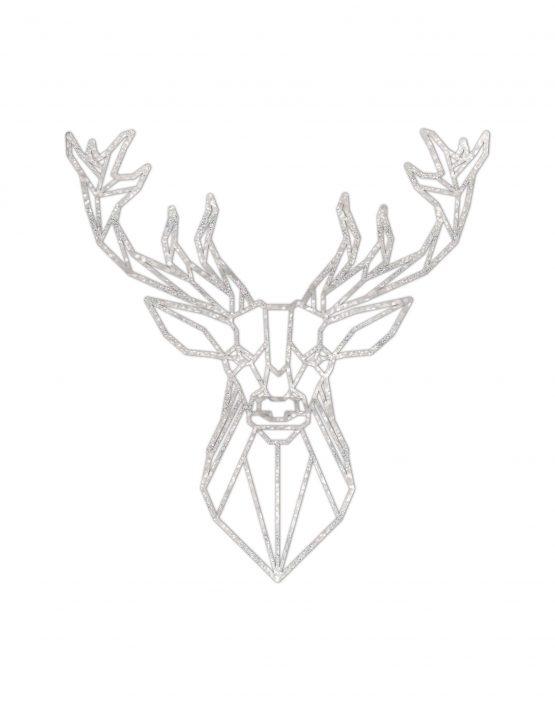 Jeleń srebrny - dekoracja geometryczna ścienna XL