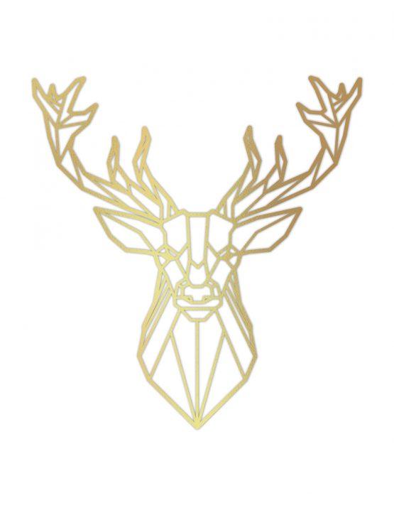 Jeleń złoty ozdoba na ścianę 3D - XL