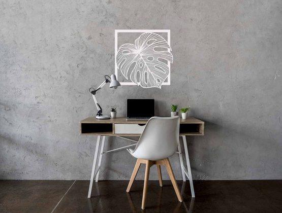 liść palmy monstera - biały