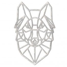 Wilk geometryczny srebrny - Dekoracja ścienna XL