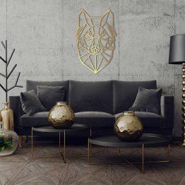 Wilk Złoty na ścianę - geometryczna dekoracja XL