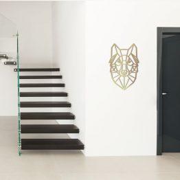 Złoty Wilk Geometryczny - ozdoba ścienna M