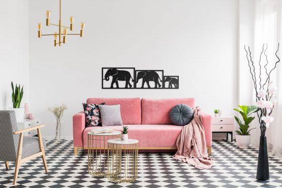 Słonie tryptyk dekoracyjny 3D