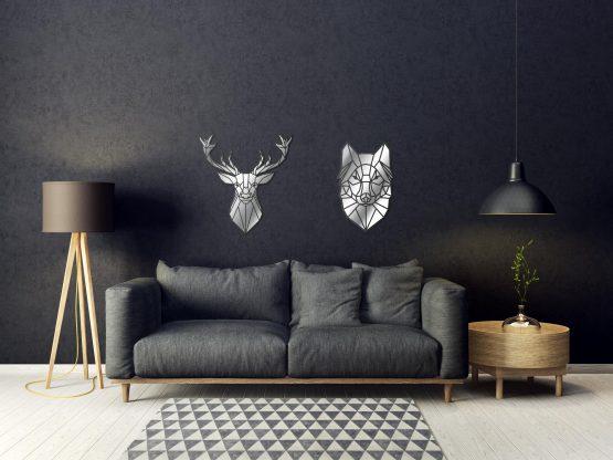 Jeleń i wilk geometryczny lustro