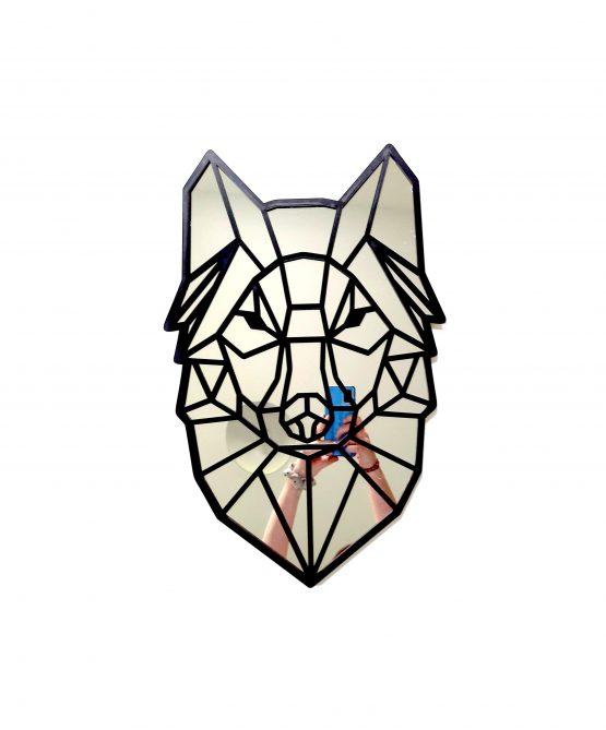 Geometryczny wilk - lustro naścienne