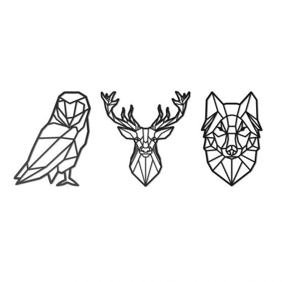 geometryczny jeleń, wilk, sowa