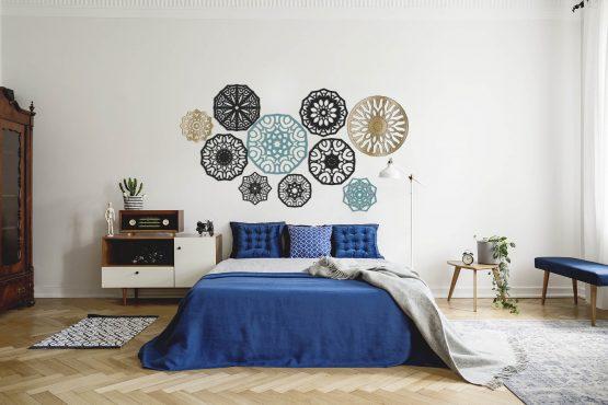 Zestaw 10 mandali - drewniane dekoracje 3D