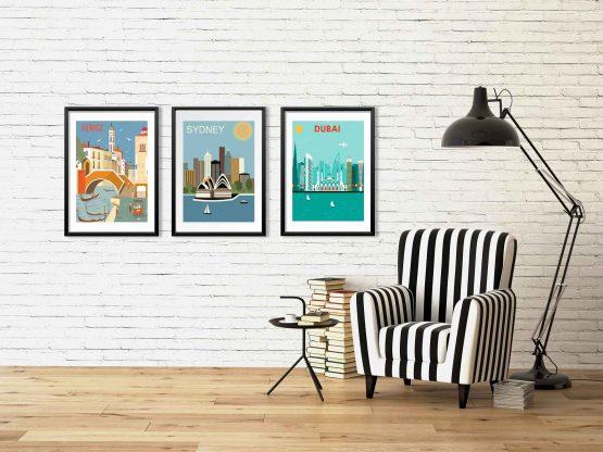 Plakaty miasta - Rzym, Dubaj, Wenecja