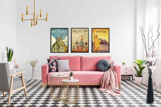 Plakaty Rzym Moskwa Nowy Jork