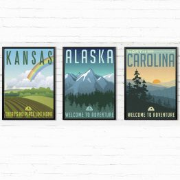 Vintage Plakaty USA - Kansas Alaska Carolina 3 szt.