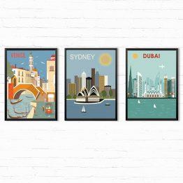 Grafiki Miast zestaw 3 Plakatów - Wenecja, Sydney, Dubaj