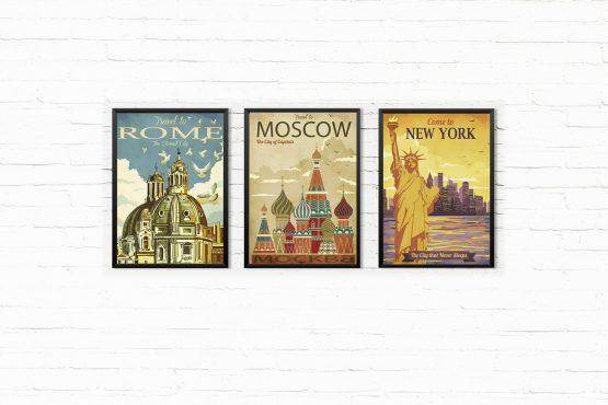 Retro Grafiki Miast Plakaty - Rzym, Moskwa, New York 3 szt.