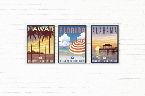 Retro Plakaty USA - Floryda, Hawaje, Alabama - 3 szt.