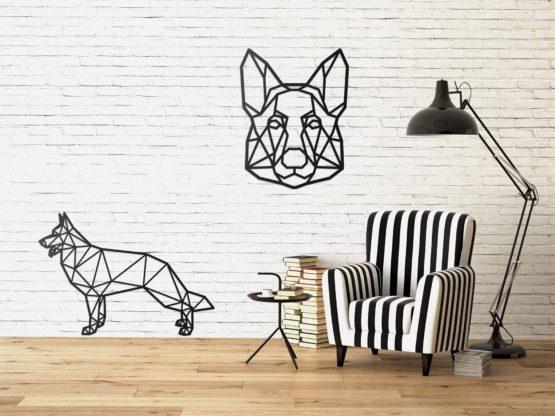 Owczarek niemiecki dekoracja geometryczna 3D